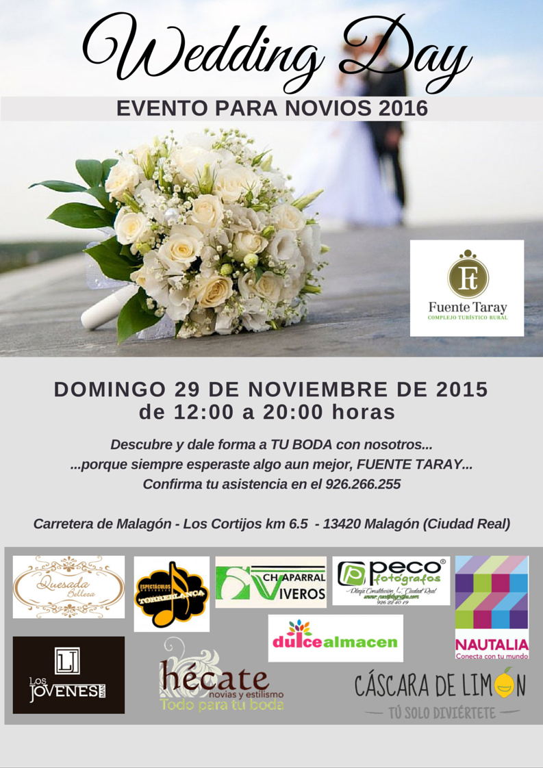 Cartel WEDDING DAY en Fuente Taray, Malagón